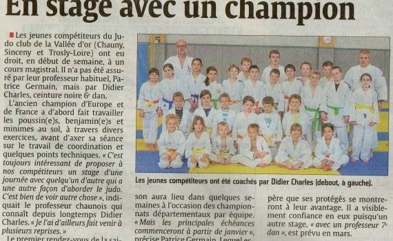 Stage avec un champion - Article du journal sur le Judo Club de Chauny
